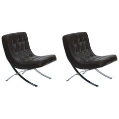Pair of Chromed Italian 1970s Slipper Chairs