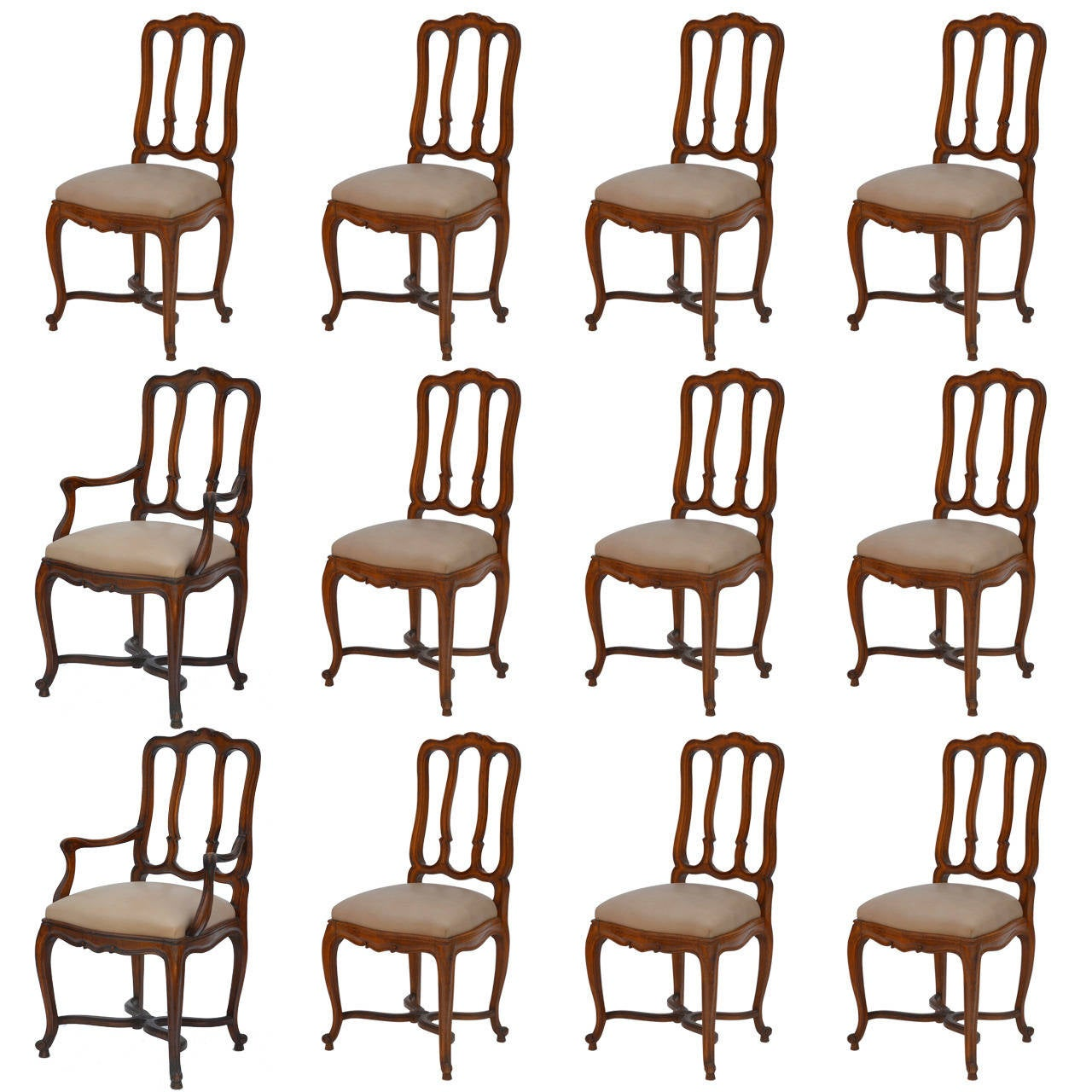 Impressive Set of 12 Chic French Louis XV Style Dining Chairs and Armchairs