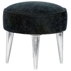 Chic Chrome and Aged Leather Stool