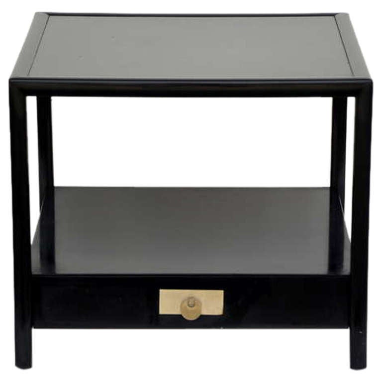 Superior Chic Black Lacquer End / Side Table By Michael Taylor For Baker 1