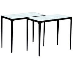 Pair of Chic Blackened Iron and Honed Marble Side Tables