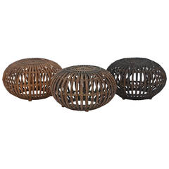 Set of 3 rattan ottomans or stools in the style of Franco Albini