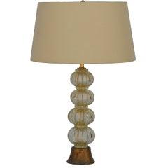 Heavy Gilt Murano Glass Stem Lamp with Custom Silk Shade