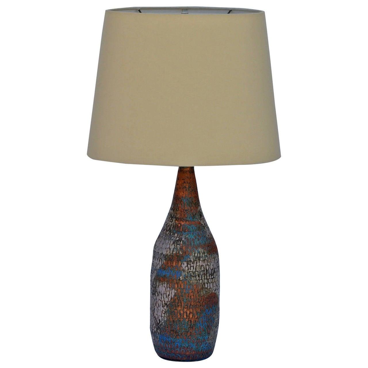 Gourd Shaped Ceramic Studio Lamp With Custom Linen Shade