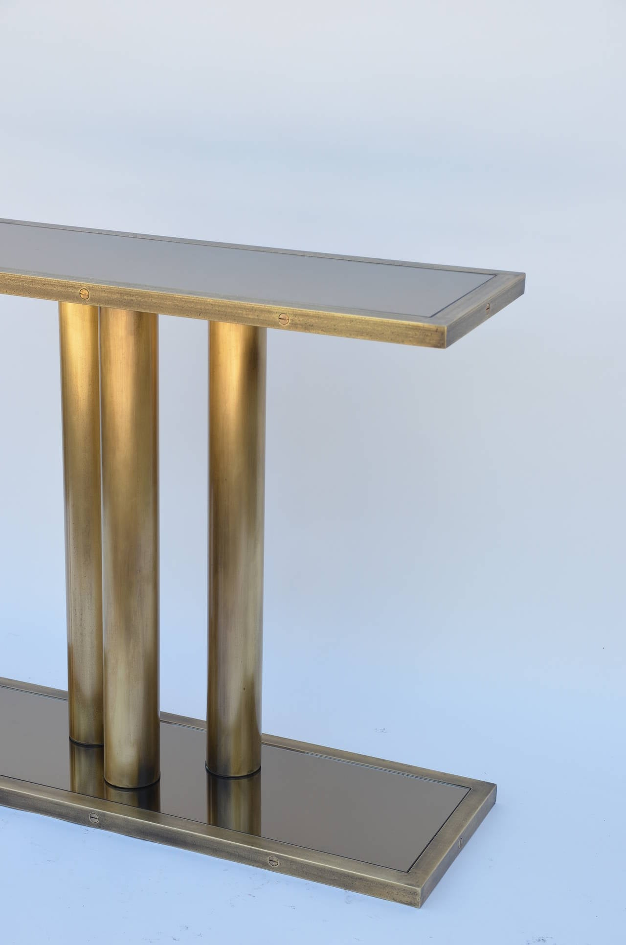 Narrow Brass Pedestal And Bronze Mirrored Console At 1stdibs