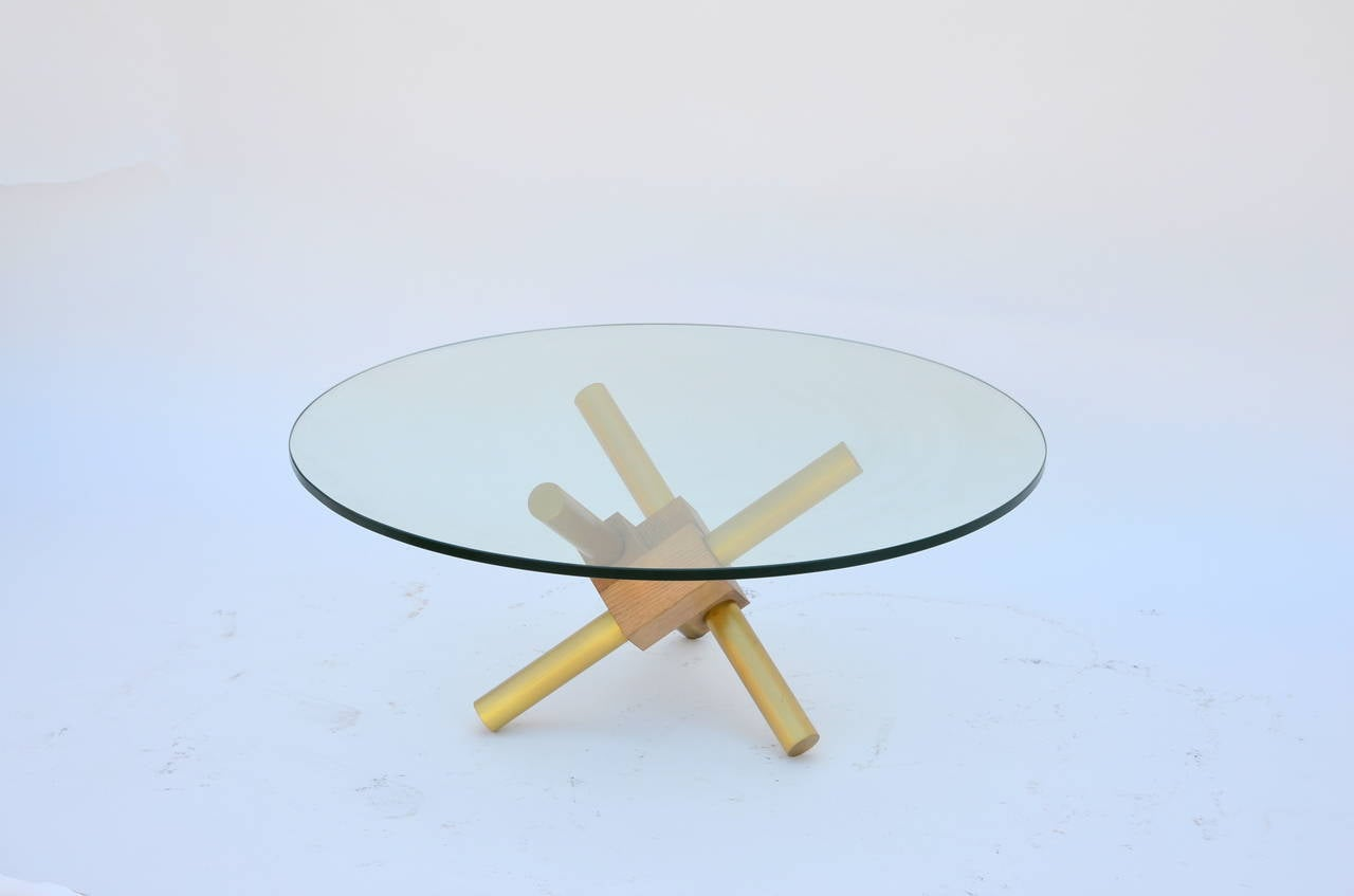 Small Round Tripod Brass And Glass Coffee Table For Sale At 1stdibs
