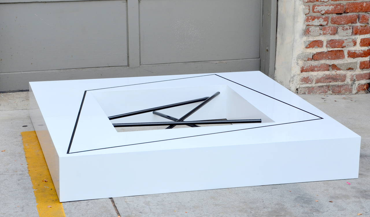 Low Sculptural White Lacquer Coffee Table By Franck Rognard At 1stdibs