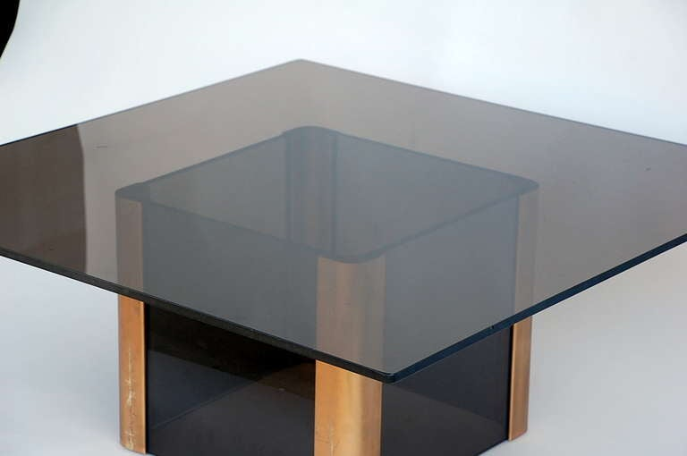 Sleek Smoked Glass And Brass Coffee Table By Pace For Sale