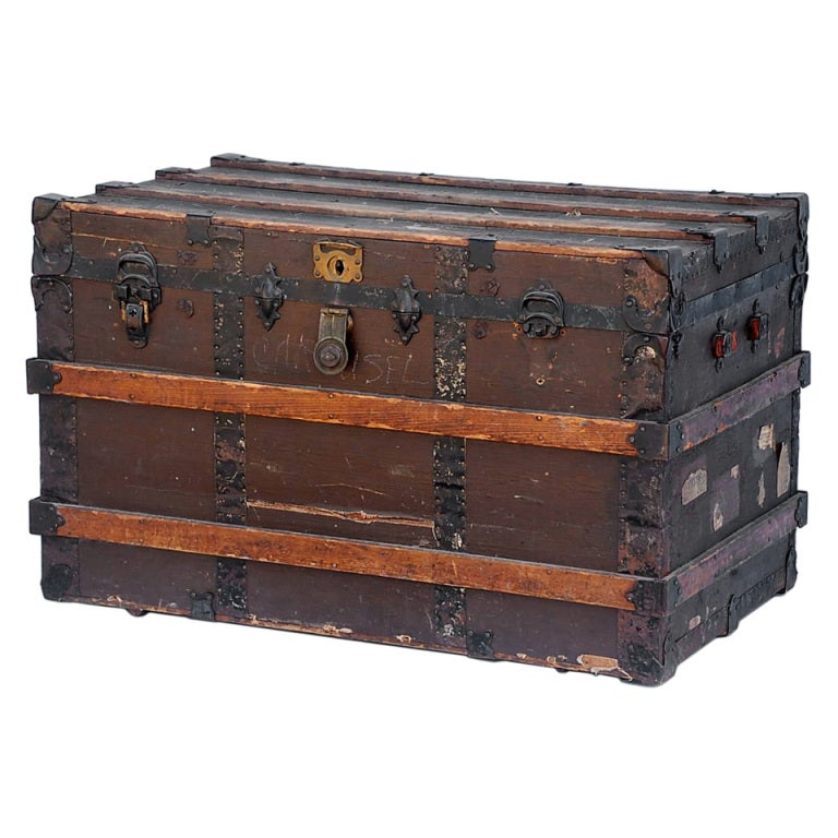 Large weathered wooden trunk at stdibs