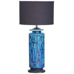Large blue textured ceramic table lamp