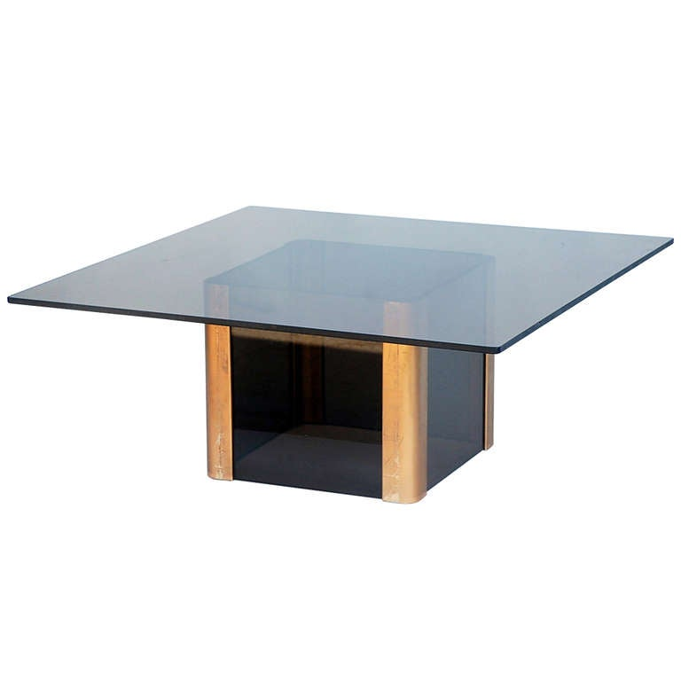 Sleek smoked glass and brass coffee table by pace for sale at 1stdibs Sleek coffee table