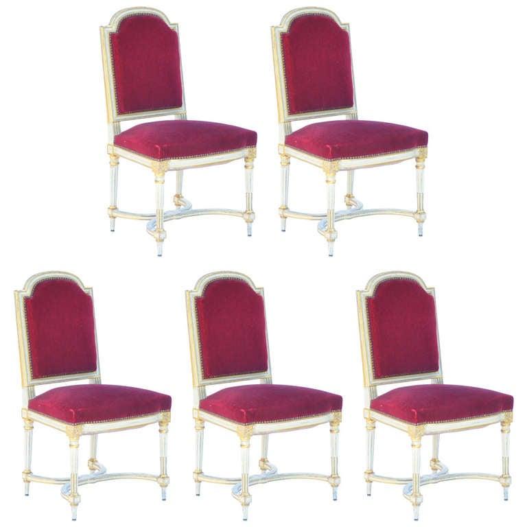 Set of 5 Chic Crimson Velvet Chairs in the style of Maison Jansen