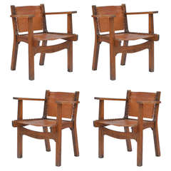 Set of 4 French 40's Oak and Leather Paddle Armchairs