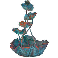 Large Organic Copper Fountain in the Style of Lalanne
