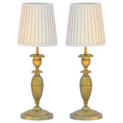 Pair of Small Gilt Bronze Table Lamps in the style of Armand-Albert Rateau