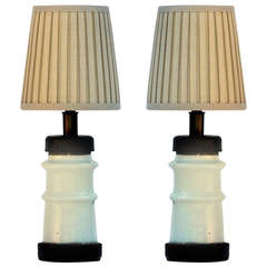 Pair of Small French Industrial Ceramic Lamps