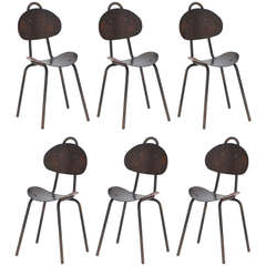 Set of 6 Sculptural French Industrial Bentwood Chairs