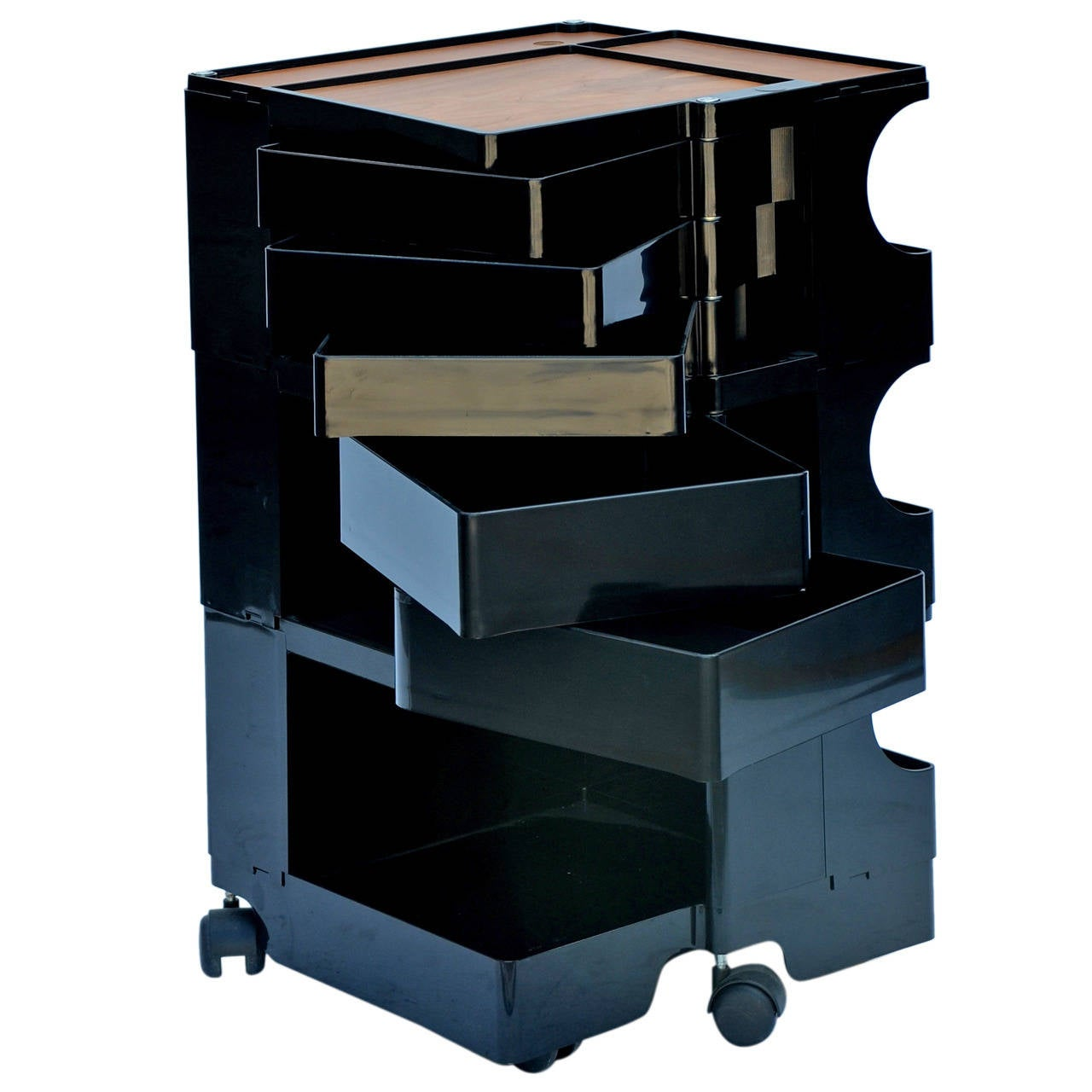 Black boby storage cart by joe colombo with artist easels for Joe colombo boby