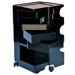 Black Boby Storage Cart by Joe Colombo with Artist Easels
