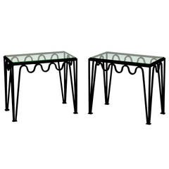 Pair of Blackened Steel and Glass Side Tables in the Style of Carl Hörvik