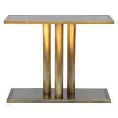 Narrow Brass Pedestal and Bronze Mirrored Console
