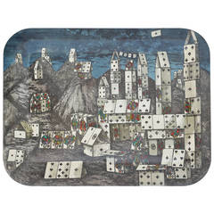 Chic City of Cards Tole Tray by Piero Fornasetti