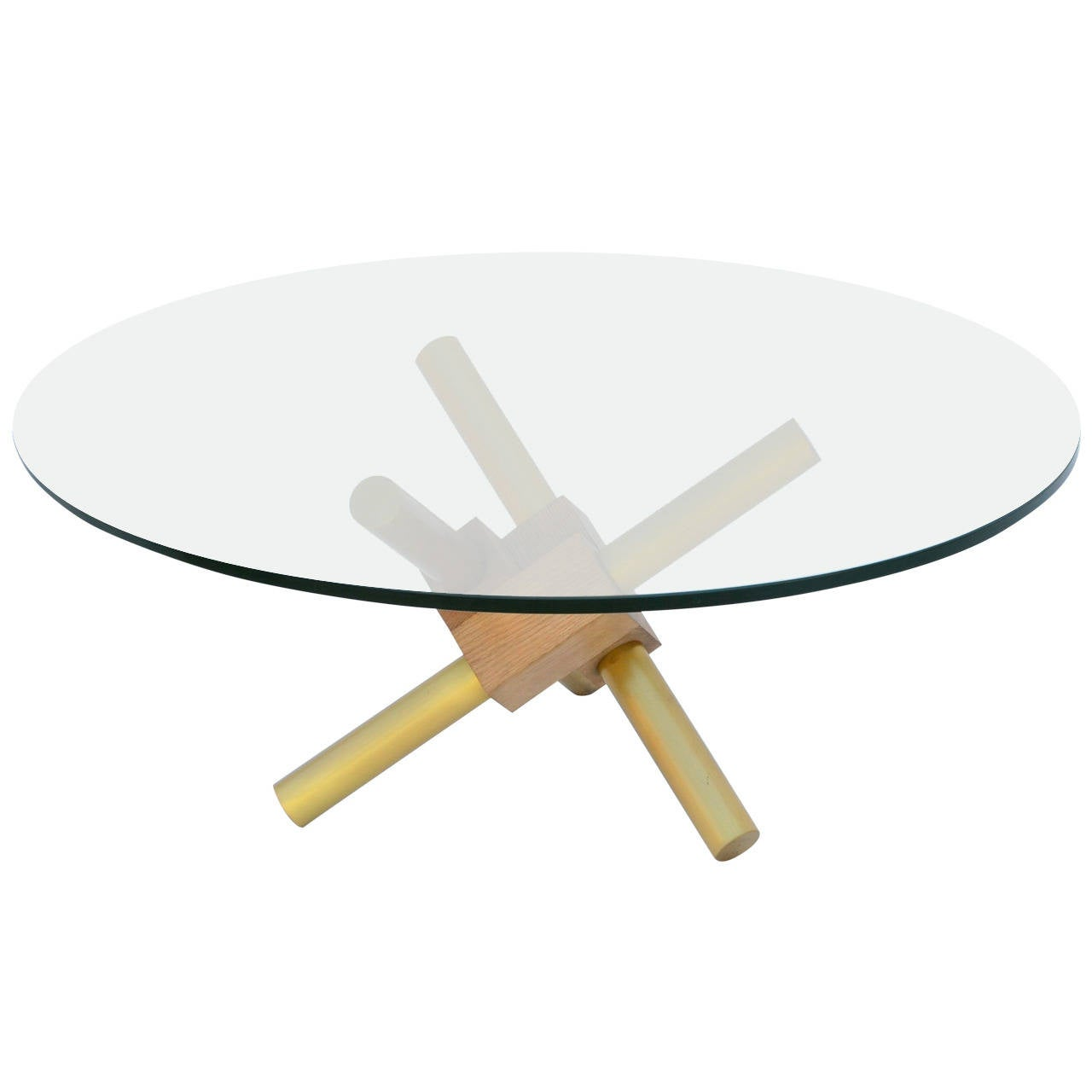 Small round tripod brass and glass coffee table for sale for Round glass coffee tables for sale