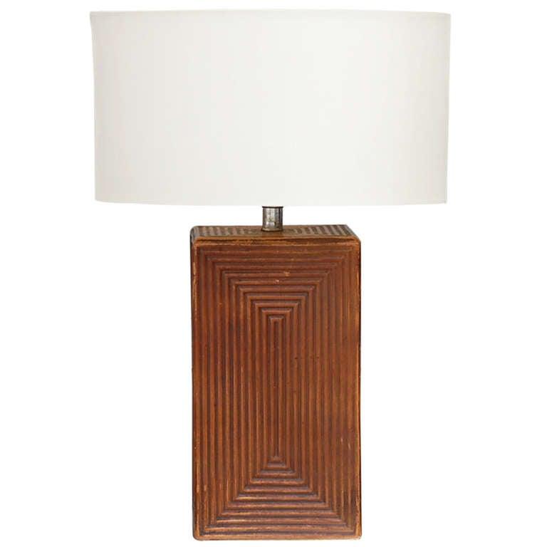 Large Cubist Ceramic Table Lamp