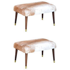 Pair of Chic Calf Hide Upholstered Ottomans / Stools