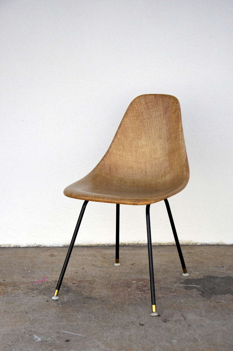 Mid-Century Modern Single Fiberglass Encasted Fabric Mesh Chair by Eames for Herman Miller For Sale