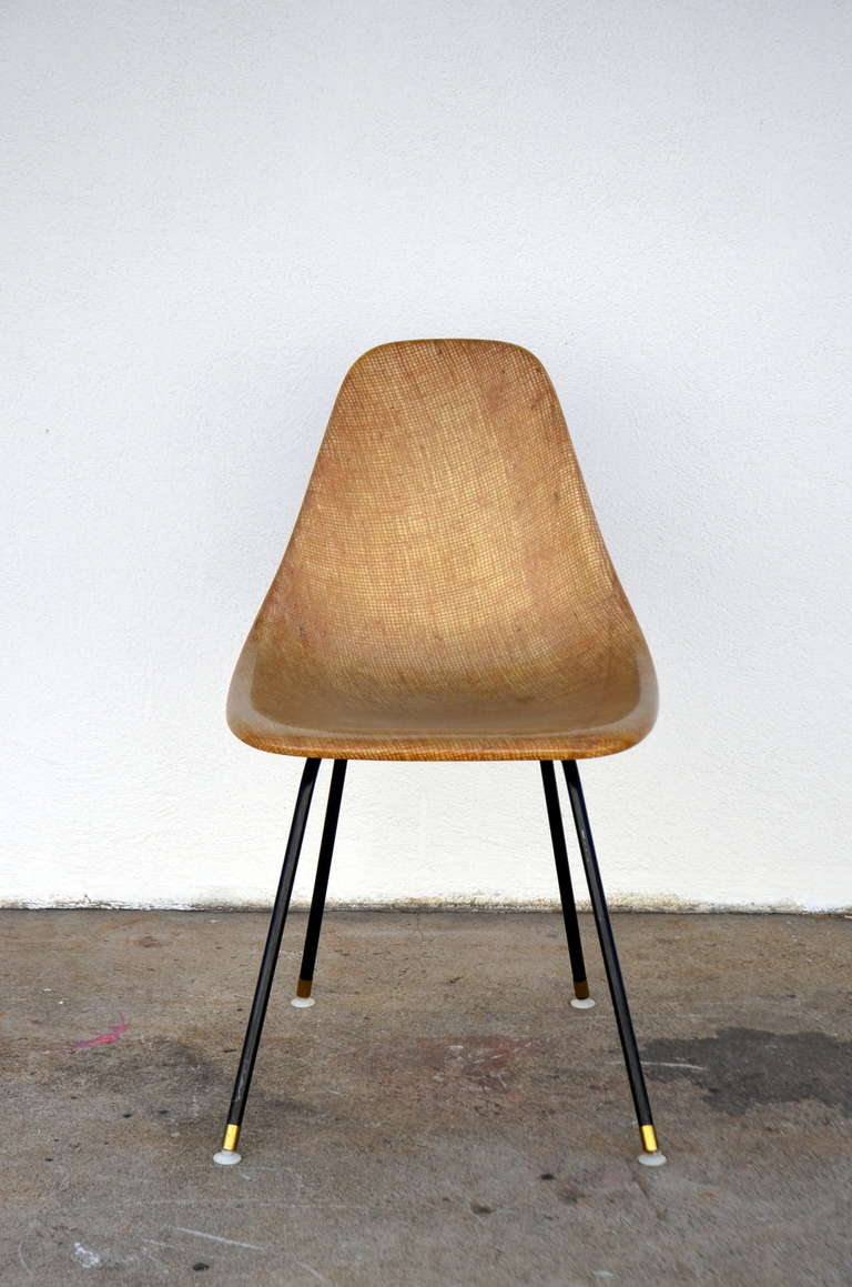 American Single Fiberglass Encasted Fabric Mesh Chair by Eames for Herman Miller For Sale