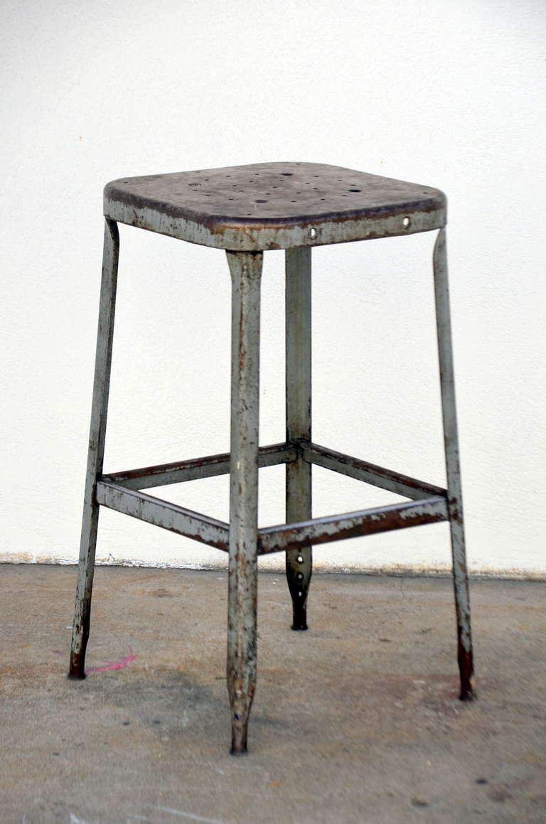 ... of Four 1940s Weathered Industrial Counter Height Stools at 1stdibs