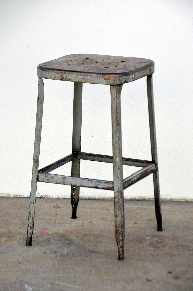 Set Of Four 1940s Weathered Industrial Counter Height