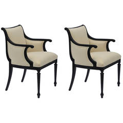 Pair of Chic Black Lacquer and Cream Velvet Armchairs by William Haines