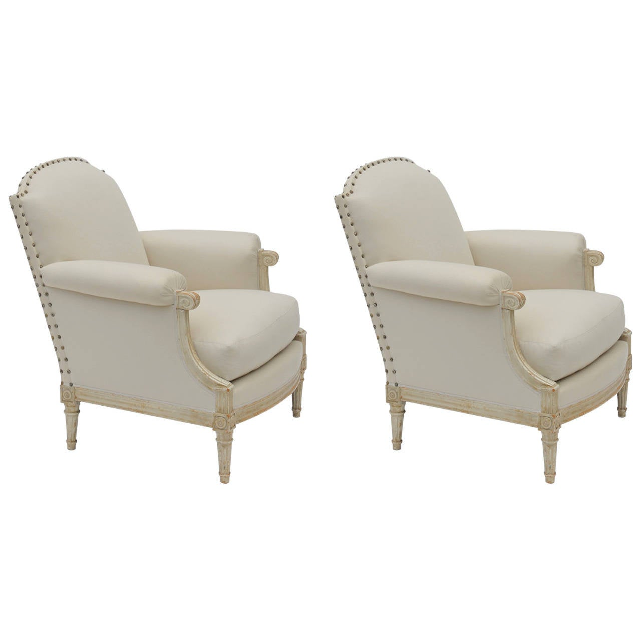 Pair of Exceptional Louis XVI Style Bergeres by Maison Jansen 1