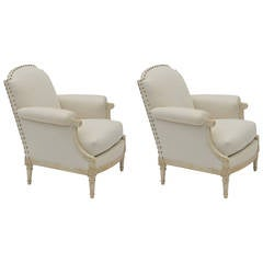 Pair of Exceptional Louis XVI Style Bergeres by Maison Jansen