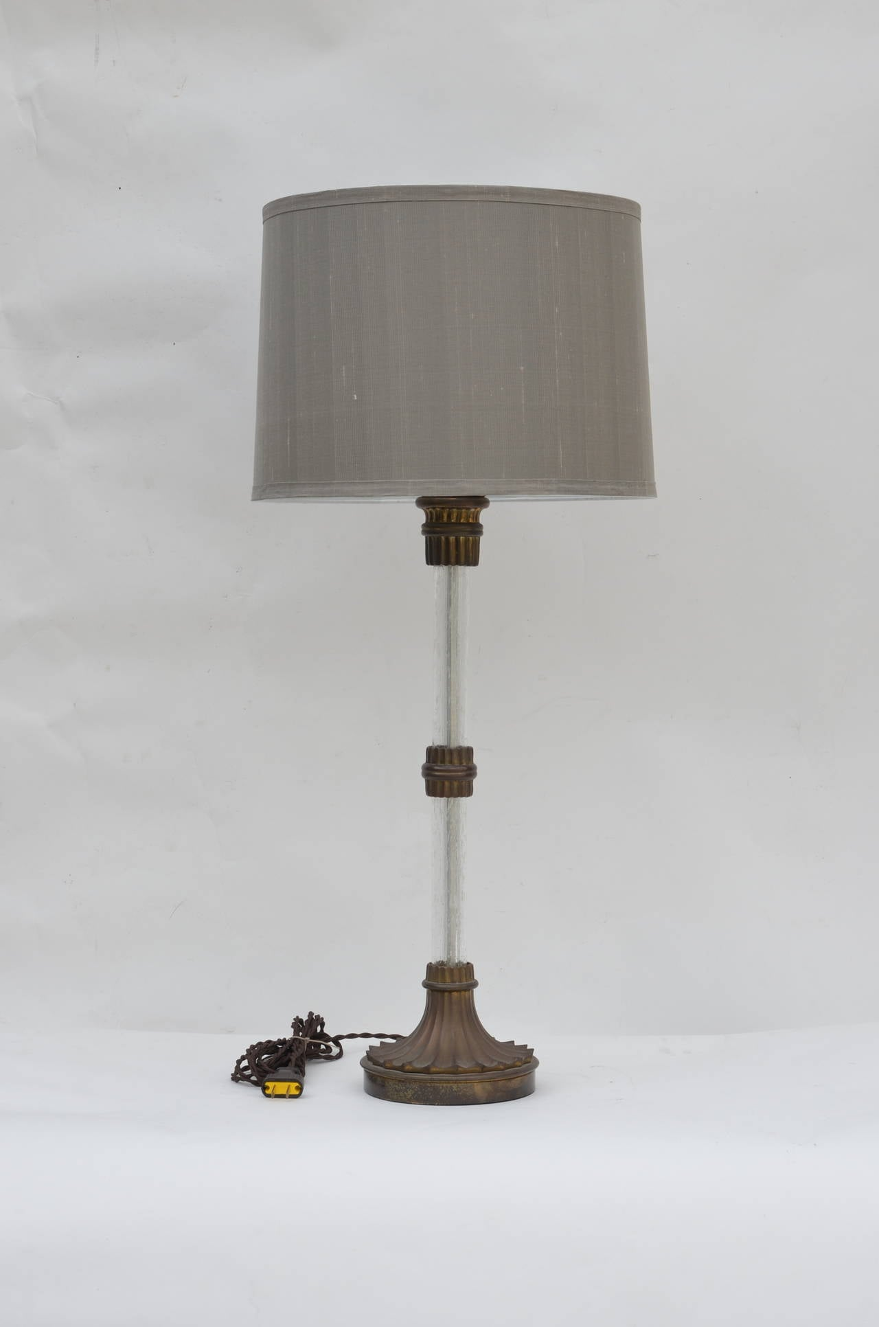 Pair Of Heavy Bronze And Glass Stem Lamps With Custom Grey