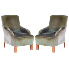 Pair of Transitional French Art Deco Velvet Armchairs