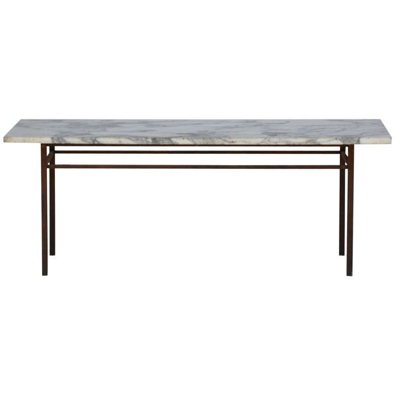 Minimalistic french wrought iron and marble coffee side for Marble and wrought iron coffee table