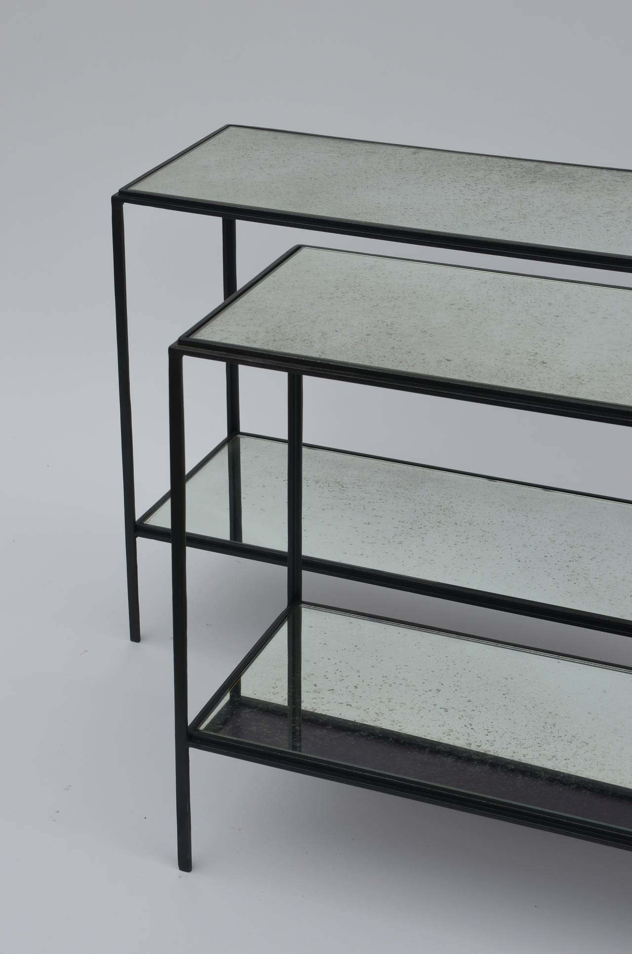 Modern Pair of Narrow 'Rectiligne' Mirrored Wrought Iron End Tables by Design Frères For Sale
