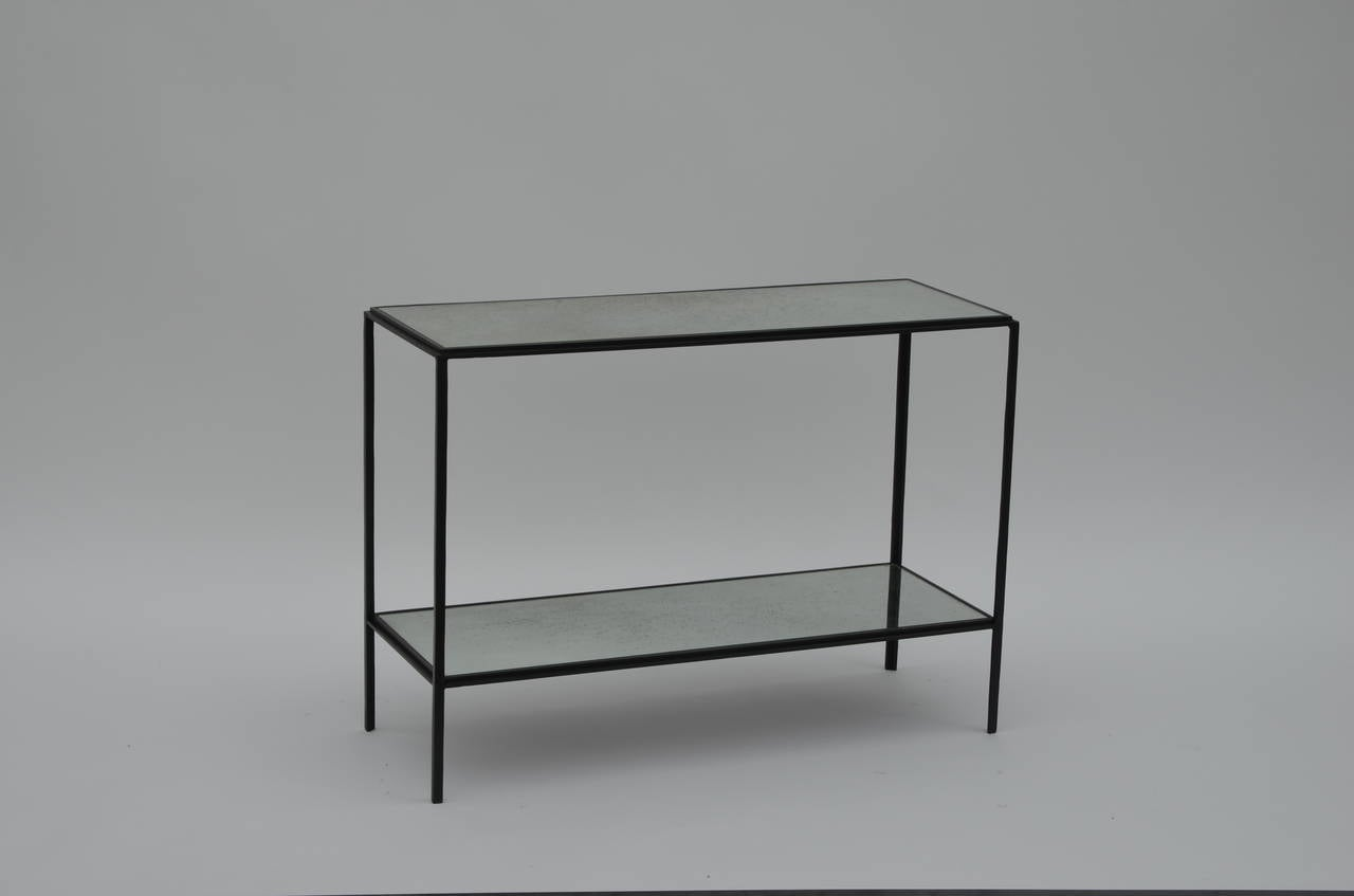 Patinated Pair of Narrow 'Rectiligne' Mirrored Wrought Iron End Tables by Design Frères For Sale