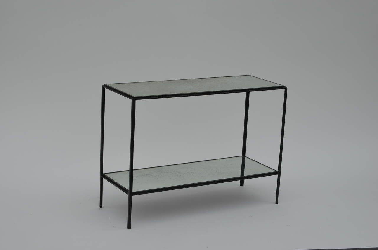 Pair of Narrow 'Rectiligne' Mirrored Wrought Iron End Tables by Design Frères In Excellent Condition For Sale In Los Angeles, CA