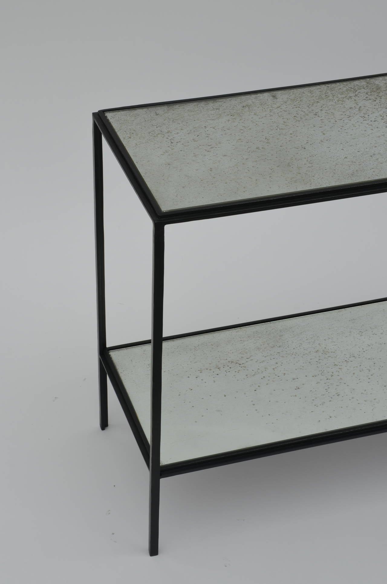 Contemporary Pair of Narrow 'Rectiligne' Mirrored Wrought Iron End Tables by Design Frères For Sale