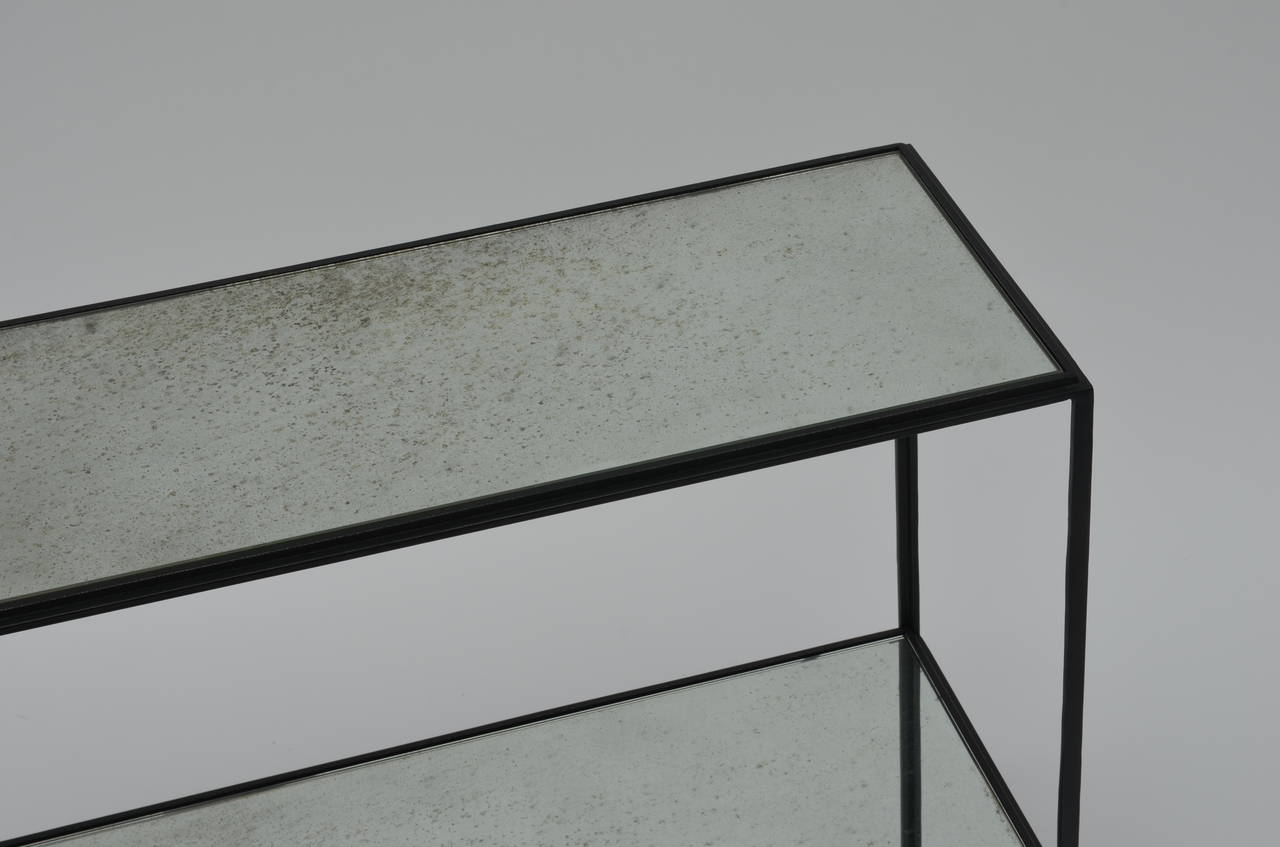 Pair of Narrow 'Rectiligne' Mirrored Wrought Iron End Tables by Design Frères For Sale 1