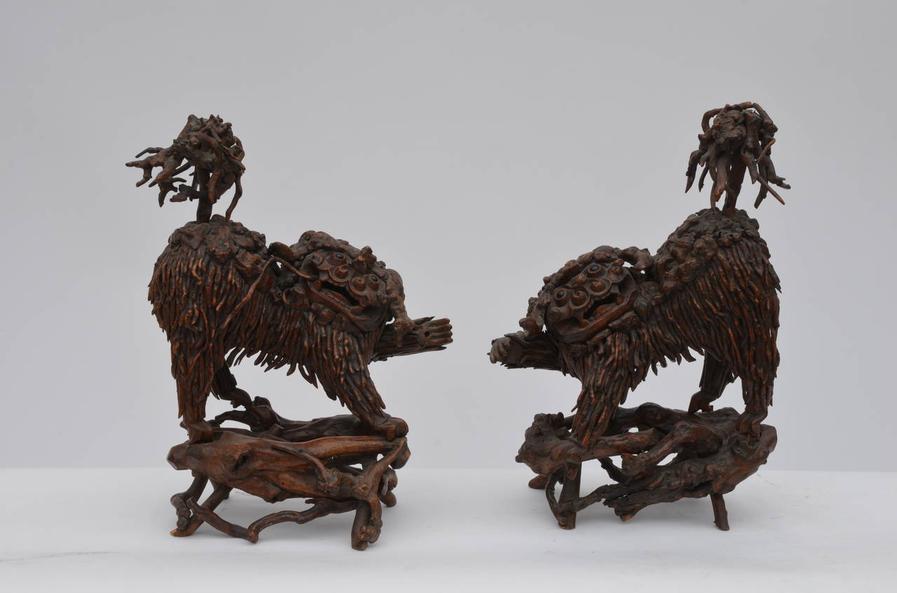 Pair of Rare Chinese Carved Wood Foo Dogs For Sale 1
