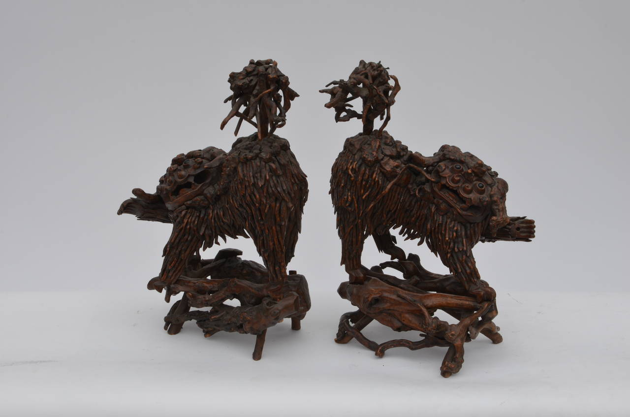 Chinoiserie Pair of Rare Chinese Carved Wood Foo Dogs For Sale