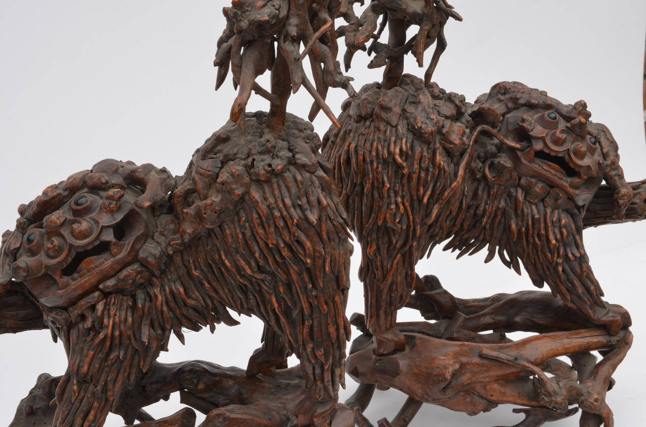 18th Century and Earlier Pair of Rare Chinese Carved Wood Foo Dogs For Sale