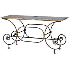 Elegant French Iron Baker's Table with Original Marble Top