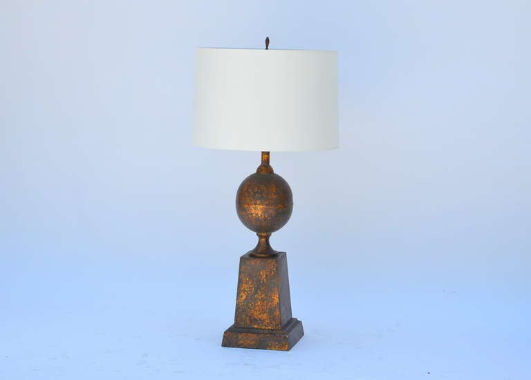 American Large Gilt Tole Neoclassical Lamp with Custom Shade For Sale