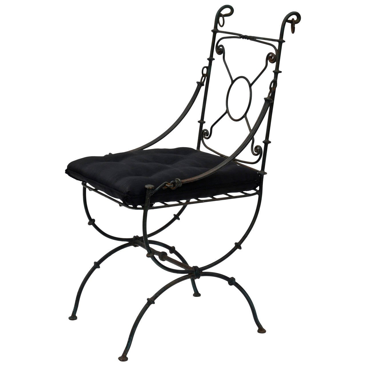 Roman Style Patinated Bronze Side Chair with Horsehair Fabric Seat